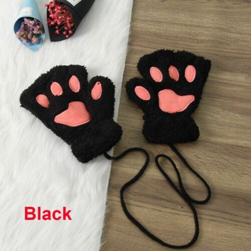 Women Warm Lovely Winter Bear Cat Paw Fingerless Gloves Plush