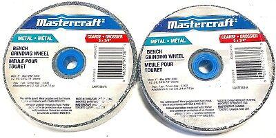 """Mastercraft 5/"""" x 3//4/"""" Bench Grinding Wheel Metal Grinding Medium Grit 2 Pack"""
