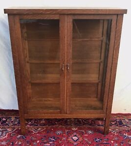 Image Is Loading ANTIQUE MISSION OAK DOUBLE GLASS DOOR CHINA CABINET