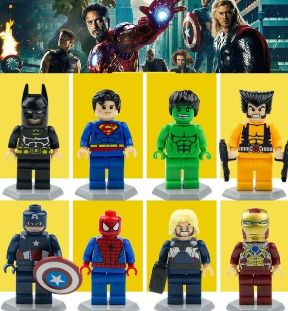 8 Set Super Heroes Minifigures Marvel Avengers Endgame Batman Superman Fits Lego