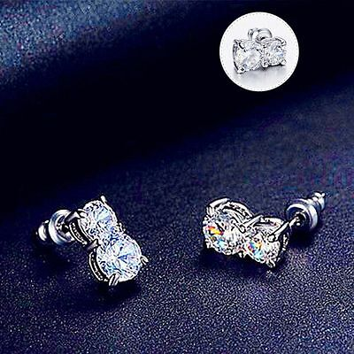 Plated Crystal Korean Fashionable White Earrings Ear Studs Jewelry Gourd
