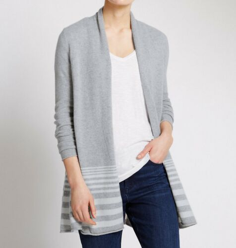 Mix Hem Collection amp; Cardigan Pure Seam M Striped S Silver Cashmere Swing q8On7