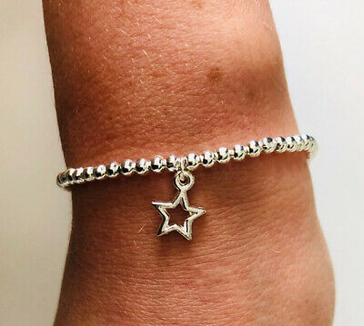 Silver Ball Beaded Star Charm Bracelets Stacking Set Of 3 Gift Stacker
