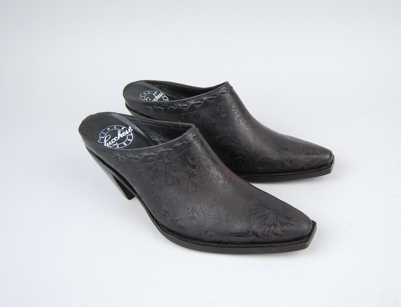 Lucchese Womens Womens Womens Mules Black Slides Western 6.5 B 37 tooled embossed - New 55aa0c