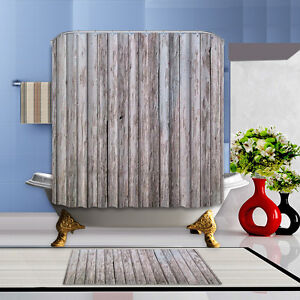 Details About Grey Wood Waterproof Fabric Home Decor Shower Curtain Bathroom 12 Hooks Mat Set