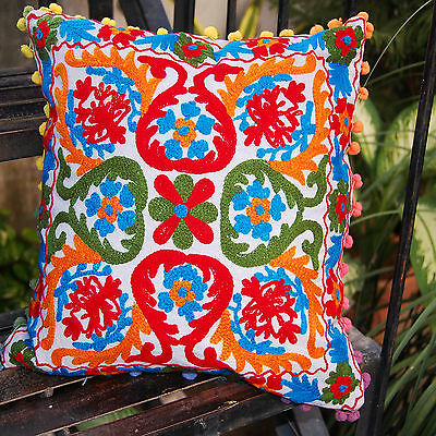 """Indian Suzani Pillow Cases Embroidered Cushion Covers Home Decor 16x16"""" Square"""