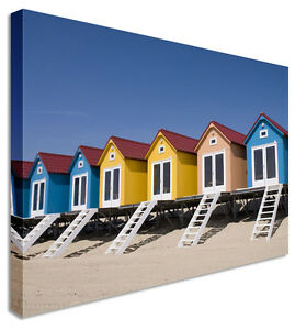 Large-Modern-Sandy-Beach-Huts-Canvas-Wall-Art-Pictures
