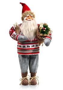 Xl Deko Weihnachtsmann Nordland Mit Ski Als Geschenk Santa Claus