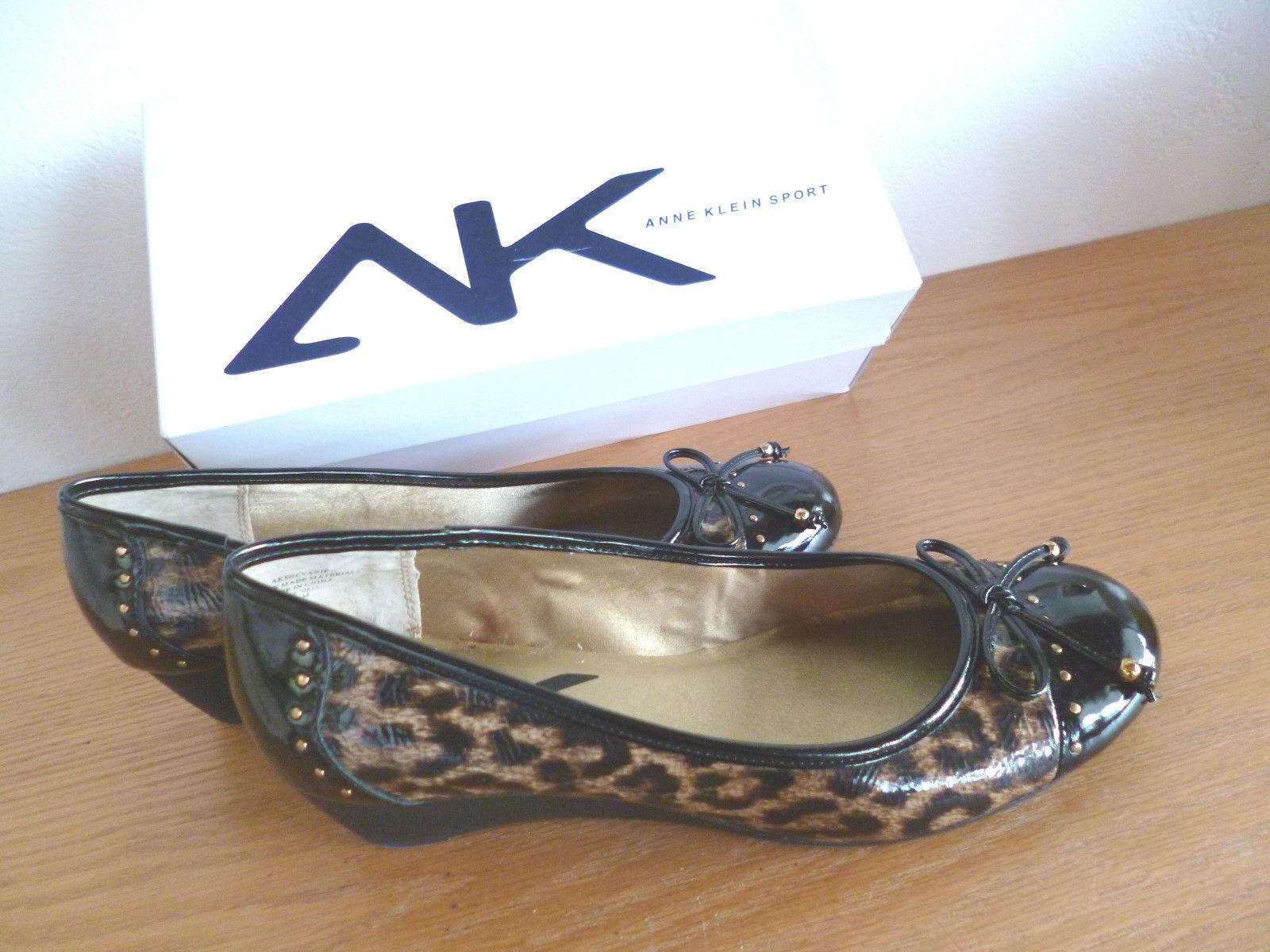 Ann Klein Sport Cheetah / Blk Patent Wedge Heels  AK Shevanie  10 1/2 M