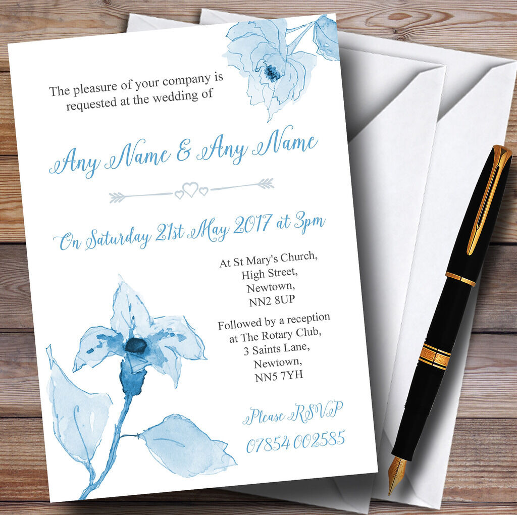 Beautiful Powder Baby Blau Watercolour Flowers Personalised Wedding Invitations