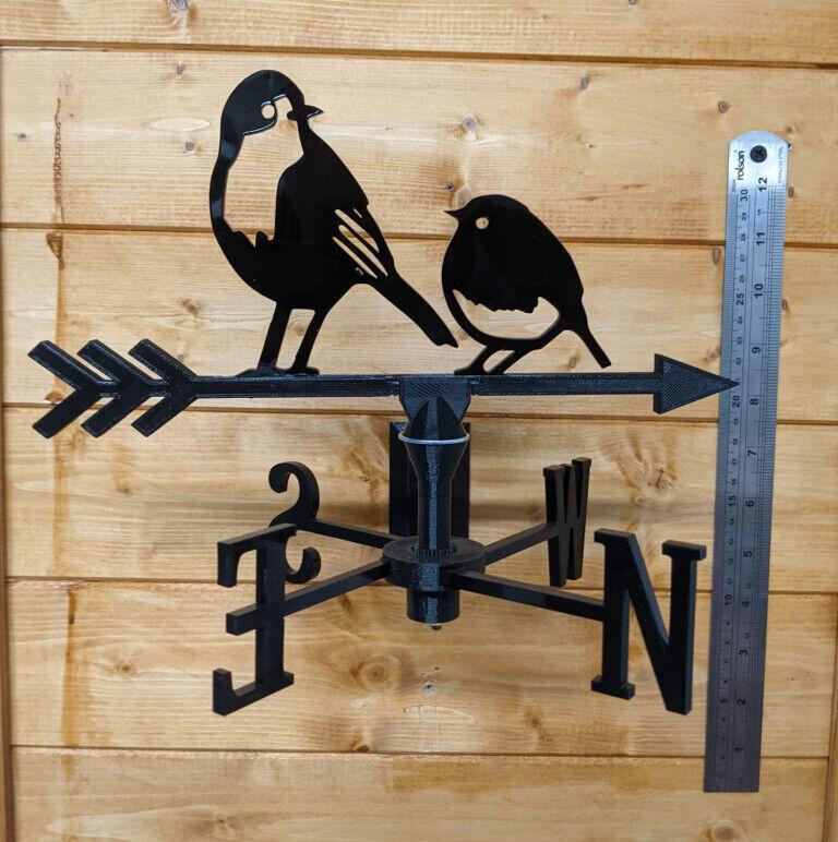 Robins (Birds) Acrylic Garden Weather Vane Wall, Pole or Post Mounted