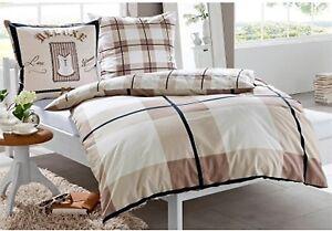 bettw sche dita braun beige 135 x 200 80 x 80 mako satin 100 baumwolle neu ebay. Black Bedroom Furniture Sets. Home Design Ideas