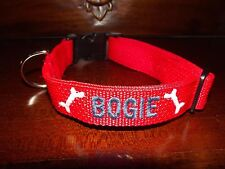 XXSmall Dog Collar, Personalized, Embroidered with name, Unisex, Adjustable, xxs
