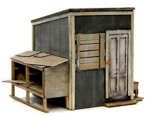 BANTA-2144-HO-HON3-LINESIDE-SHED-Model-Railroad-Building-Wood-Kit-FREE-SHIP