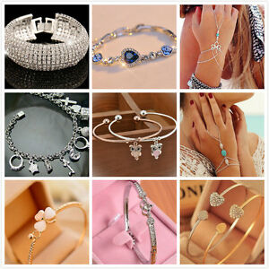 Hot Womens Gold/Silver Plated LOVE Bracelet Jewelry Stainless Steel Cuff Bangle