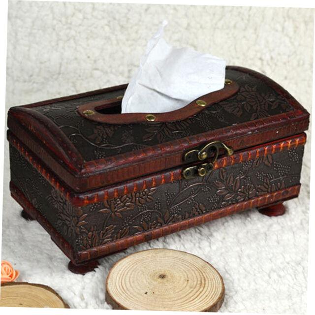 Elegant Crafted Wooden Antique Handmade Old Tissue Box Antique Tissue Box KR