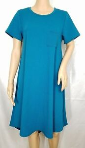 7b7102c1fe0 Image is loading LuLaRoe-CARLY-TShirt-Solid-Emerald-Green-Dress-High-