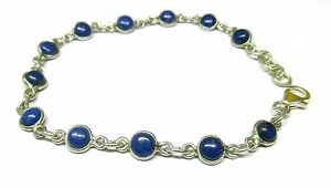 Handmade-925-Sterling-Silver-Bracelet-with-Round-Lapis-Lazuli-Stones-amp-Gift-Box