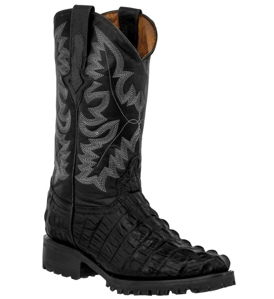 Mens Biker Boots Black Cowboy Alligator Tail Print Western Leather J Toe