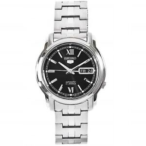 Seiko-5-SNKK81-K1-Silver-with-Black-Dial-Stainless-Steel-Automatic-Men-039-s-Watch