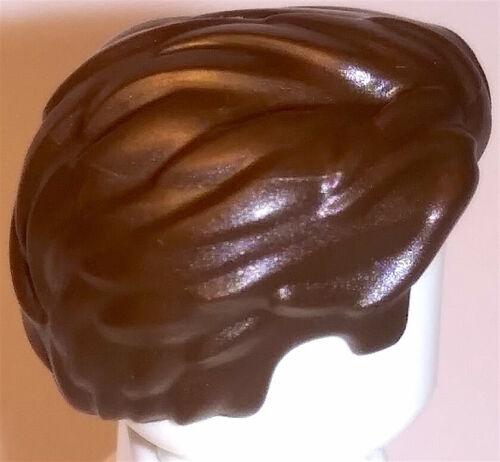100/% Lego Hair Swept Back Dark Brown Widow/'s Peak Short Sideburns Man Male Boy