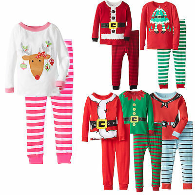 christmas santa reindeer kids baby boys girls nightwear pjs set sleepwear