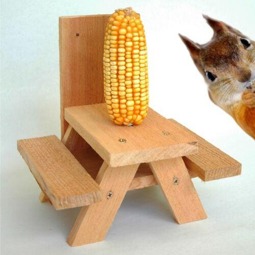 Decoration Gift  Idea for Yard Garden Squirrel Picnic Table Bench Feeder
