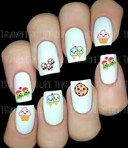 KAWAII-DESSERT-30-Autocollant-Stickers-ongles-nail-art-manucure-water-decal