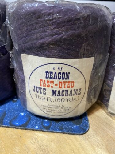 ONE BEACON 4 PLY FAST DYED JUTE MACRAME CORD ROPE 180 FT Purple THAILAND