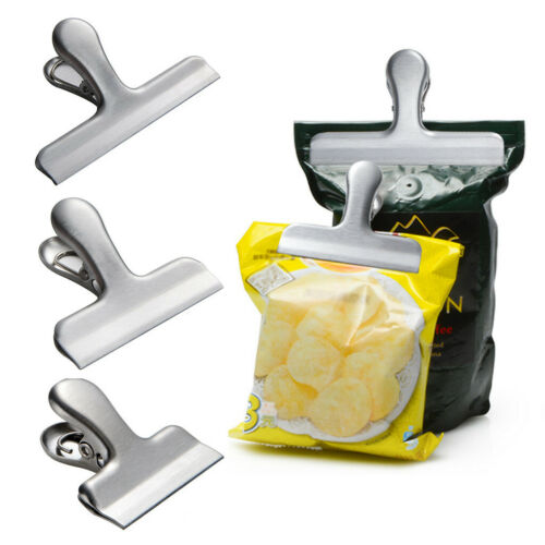 Food Storage Stainless Steel Chip Bag Clips 2//3//4 inch width Durable Food Clips