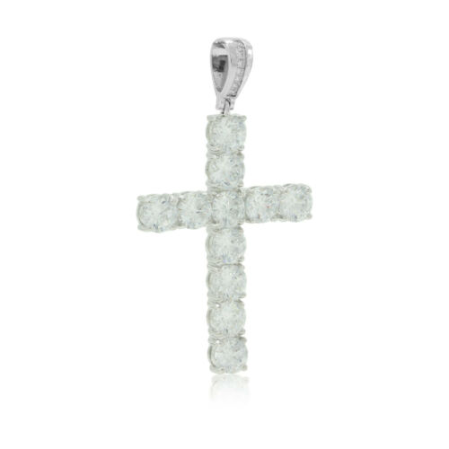 Silver Tennis Cross Pendant Bling CZ 6mm Stones Jesus Piece Hip Hop GOOD QUALITY