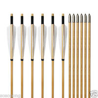 12pcs Vintage Wooden Arrows Turkey Feather Wood Shaft Archery Deer Hunting