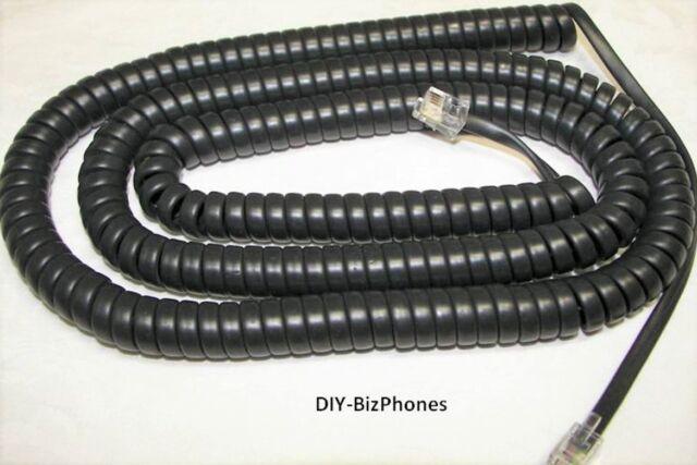 9 Ft Handset Cord 3com Phone 2102PE 3102A IP NBX Coil Black Dark Charcoal Gray