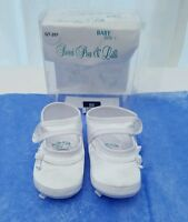 Baby Christening Shoes Slipper Booties White Satin Bow & Flower Size 1