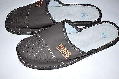 B184 Herren Hausschuhe Grau,neu Gr Leder Pantoffeln Latschen
