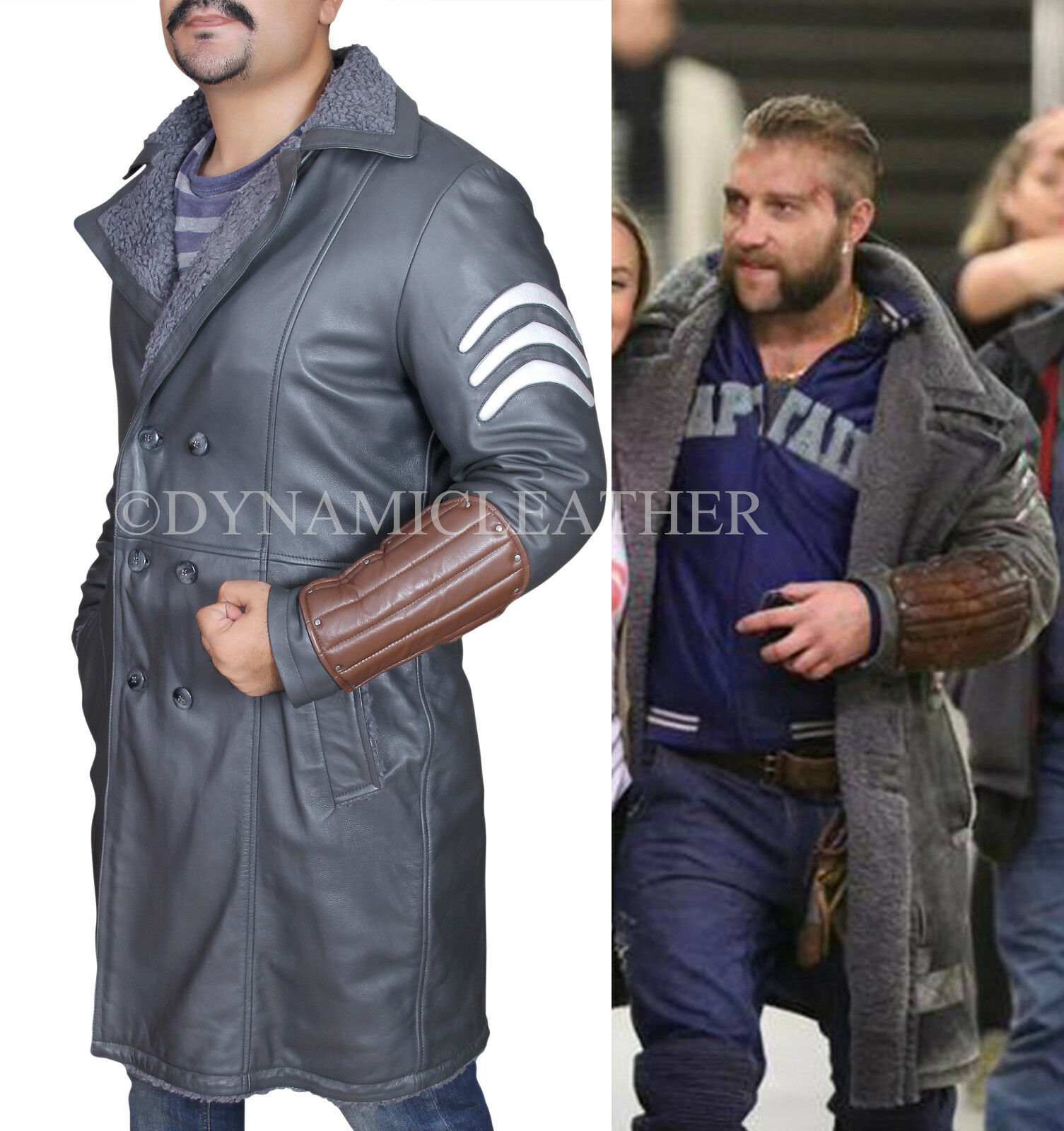 Suicide Squad Jai Courtney Captain Boomerang Genuine Leder Coat