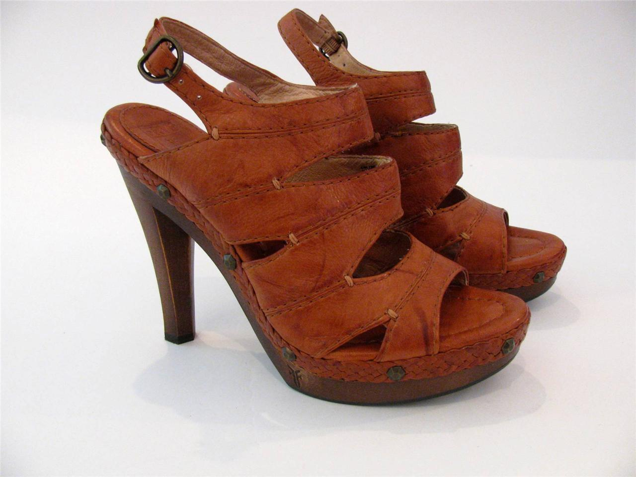 FRYE BROWN LEATHER HIGH WOODEN HEEL SEXY OPEN TOE STRAPPY SANDAL Schuhe8.5 M