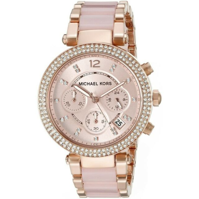 MICHAEL KORS Parker Rose Gold-tone Crystal Chronograph Women's Watch MK5896