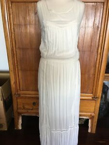 8b08ae5f7 Image is loading Witchery-White-Cotton-Lace-Detail-Maxi-Dress-Size-