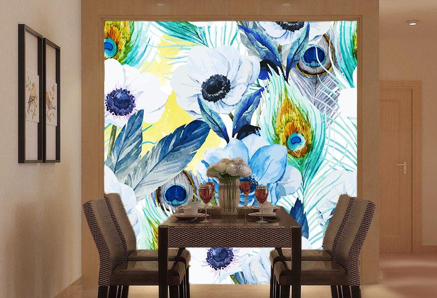 3D Feather Flowers 84 Wallpaper Mural Paper Wall Print Wallpaper Murals UK Lemon