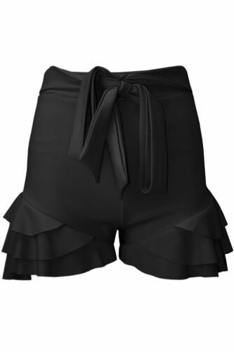 Womens Layered Peplum Ruffled Frill Skorts High Waisted Ladies Belted Mini Skirt
