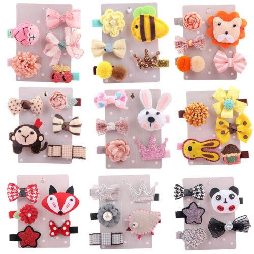 5Pcs Lovely Kids Toddler Cute Hairpin Girl Cartoon Animals Motifs Hair Clip Set