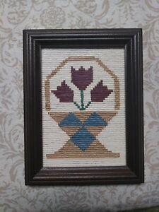 Folk Art Still Life Flowers Paper Art Framed Tulips Vintage Americana