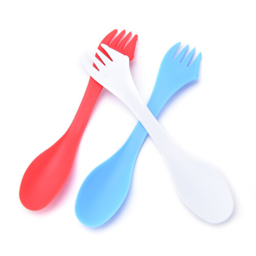 6X multifunction Camping Hiking Utensils Sporks Combo Travel Gadget Spoons ForkY