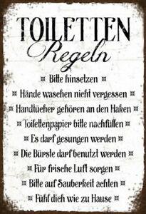Toiletten Regeln Blechschild Schild gewölbt Metal Tin Sign 20 x 30 cm FA0287