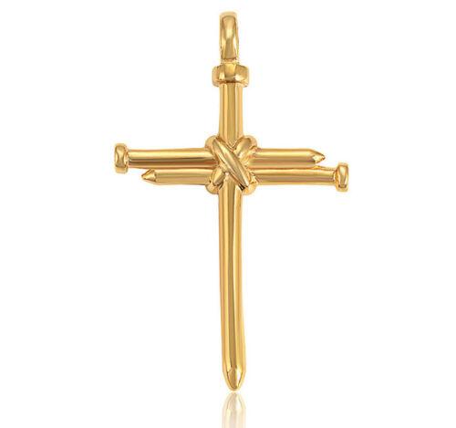 Edelstahl Halskette mit Kreuz Anhänger 999er Gold 24 Karat vergoldet 60 cm