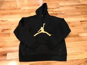 92df3557fb68 Nike Jordan X OVO Drake Black Gold Sweatshirt Fleece Hoodie 826737 ...
