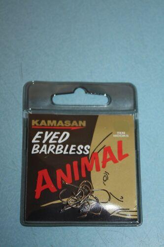 KAMASAN HOOKS ANIMAL BARBLESS EYED SIZE 8,10,12,14,16,18 NEW!!!