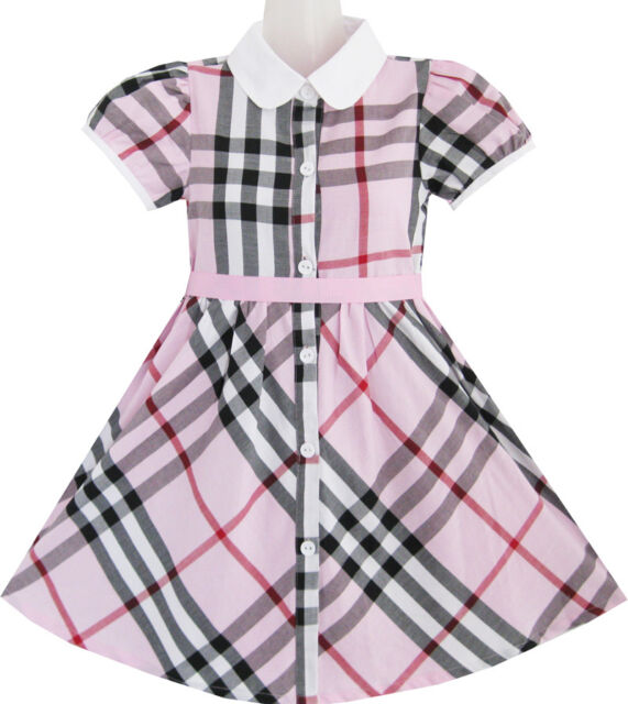 Sunny Fashion Girls Dress Pink Summer Back School Uniform White Collar Size 4-10