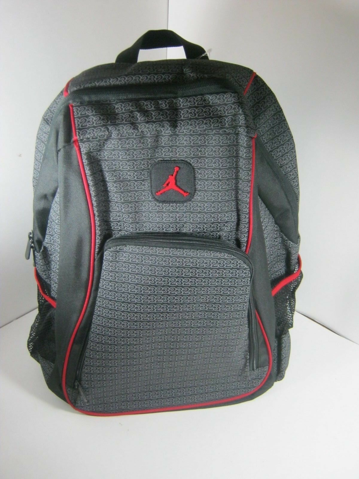 Nike Air Jordan Jumpman 23 Logo Backpack Laptop 9a1223 023 Black Red ... 32a5f68e5e172